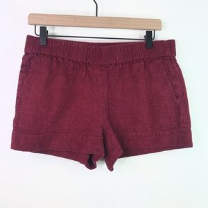 J. Crew maroon cotton embossed shorts size 8